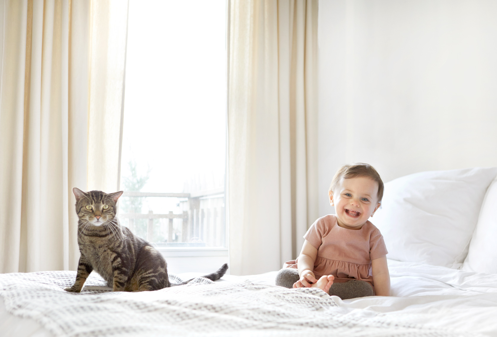 Toddler and Cat in bed
